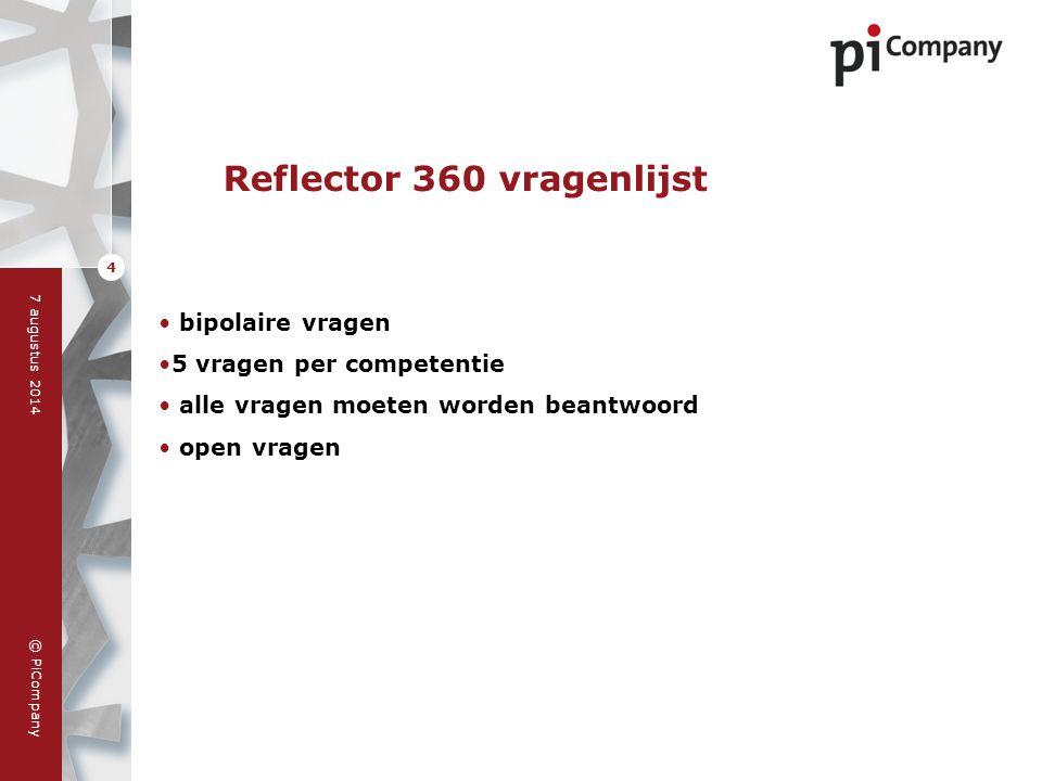 © PiCompany 7 augustus 2014 4 Reflector 360 vragenlijst bipolaire vragen 5 vragen per competentie alle vragen moeten worden beantwoord open vragen