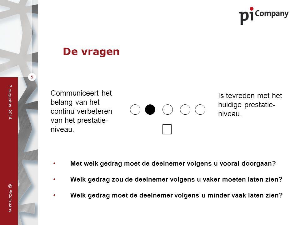 © PiCompany 7 augustus 2014 5 De vragen Met welk gedrag moet de deelnemer volgens u vooral doorgaan? Welk gedrag zou de deelnemer volgens u vaker moet