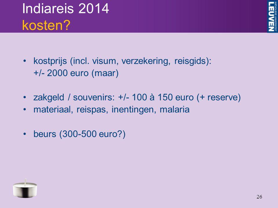 26 Indiareis 2014 kosten. kostprijs (incl.