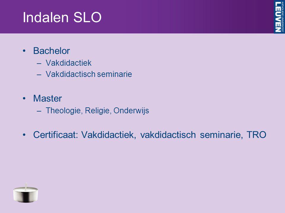 Indalen SLO Bachelor –Vakdidactiek –Vakdidactisch seminarie Master –Theologie, Religie, Onderwijs Certificaat: Vakdidactiek, vakdidactisch seminarie, TRO