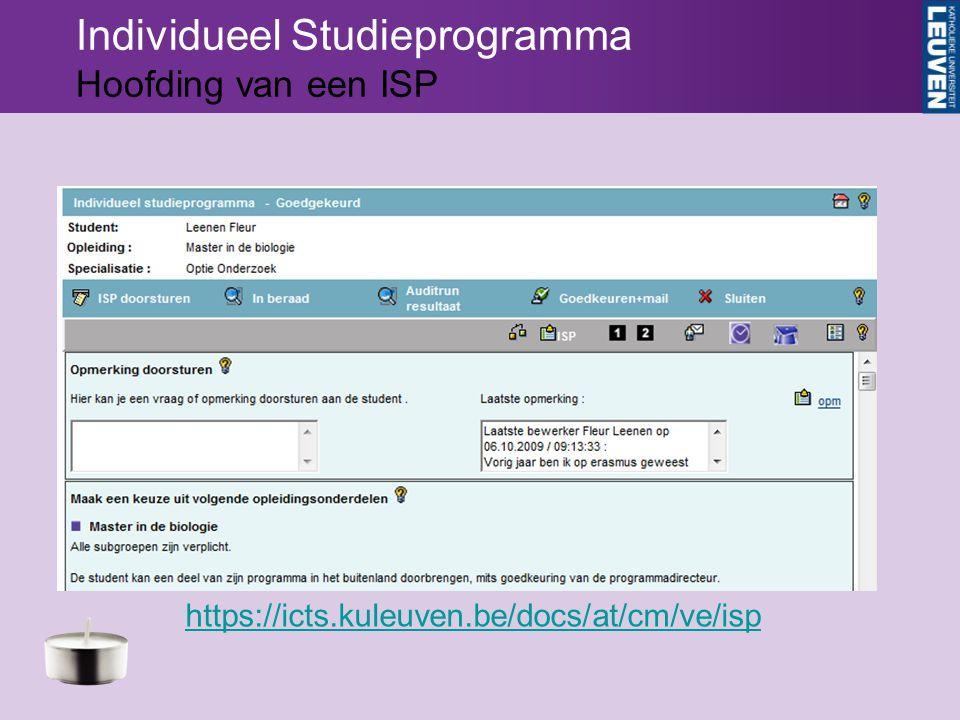 Individueel Studieprogramma Hoofding van een ISP https://icts.kuleuven.be/docs/at/cm/ve/isp