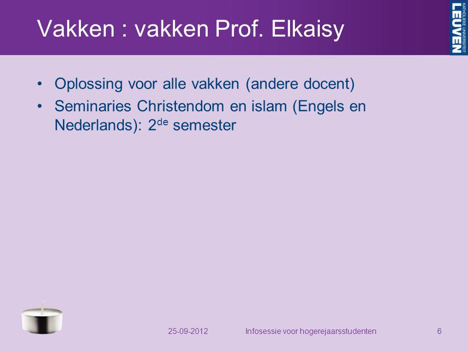 Vakken : vakken Prof.