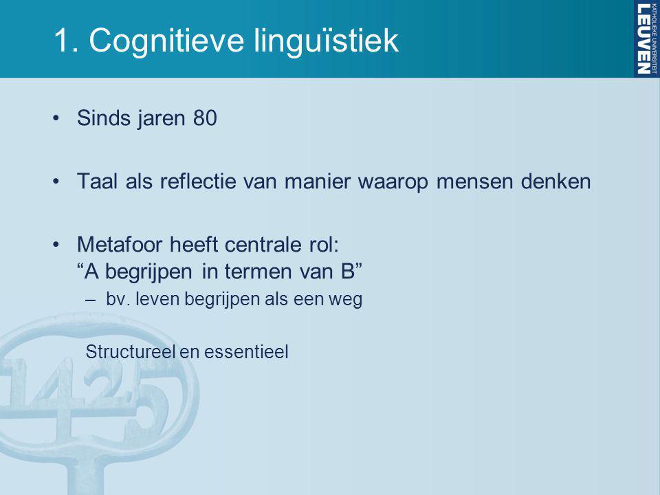 """1. Cognitieve linguïstiek Sinds jaren 80 Taal als reflectie van manier waarop mensen denken Metafoor heeft centrale rol: """"A begrijpen in termen van B"""""""