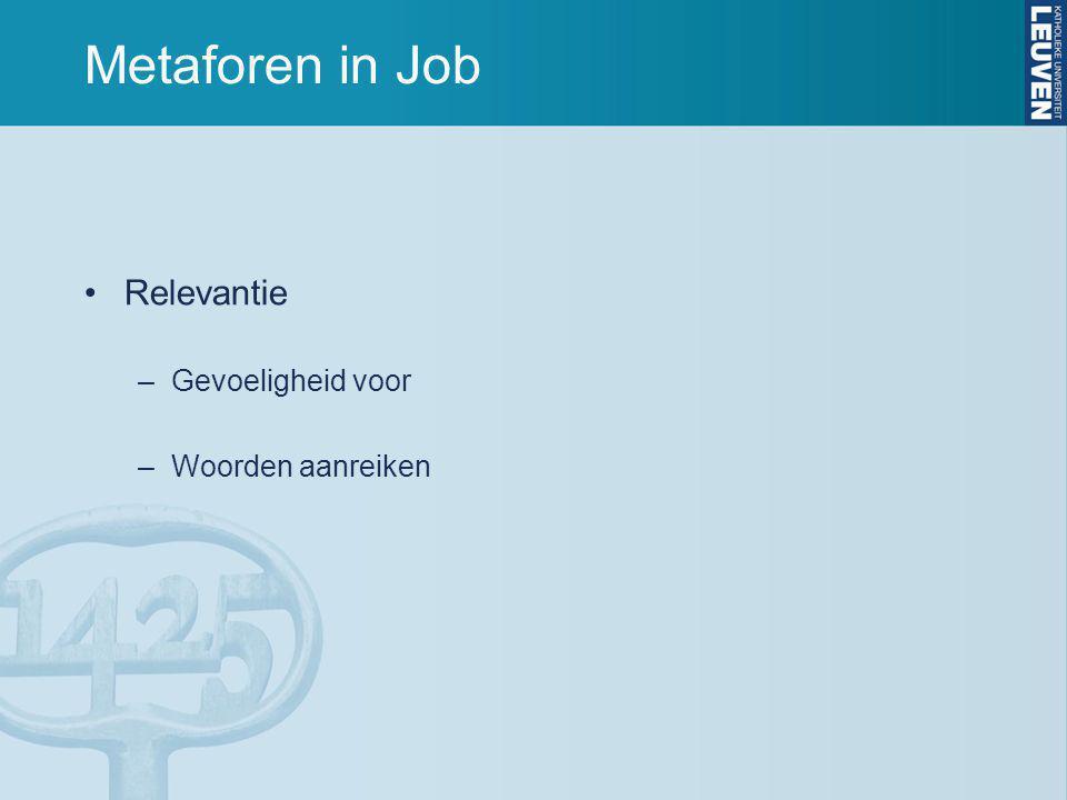 Metaforen in Job Relevantie –Gevoeligheid voor –Woorden aanreiken