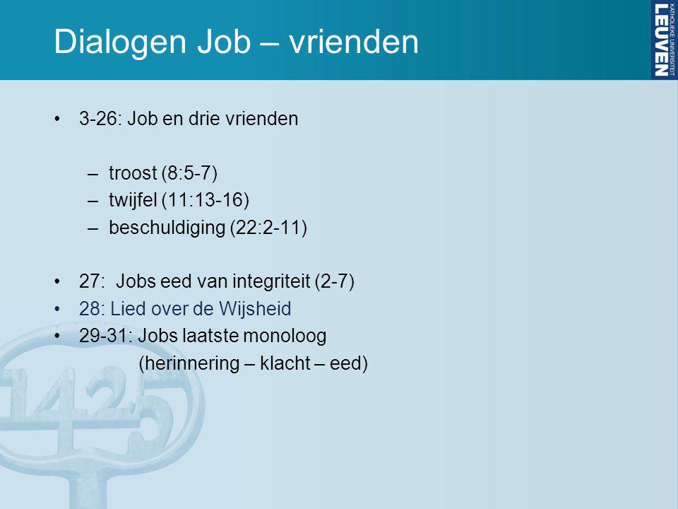 Dialogen Job – vrienden 3-26: Job en drie vrienden –troost (8:5-7) –twijfel (11:13-16) –beschuldiging (22:2-11) 27: Jobs eed van integriteit (2-7) 28: