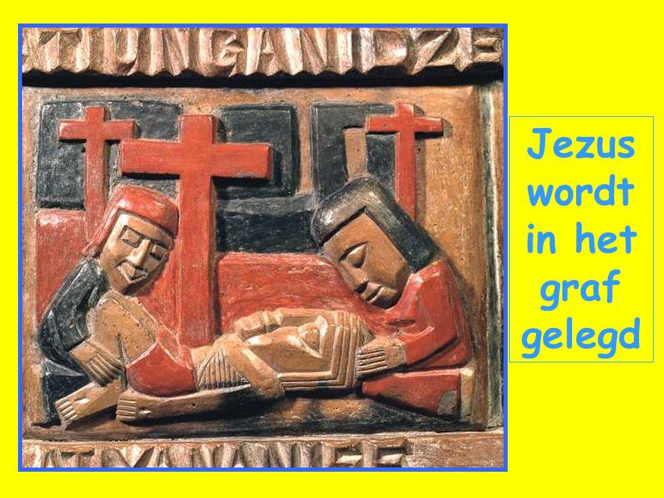 Jezus wordt in het graf gelegd