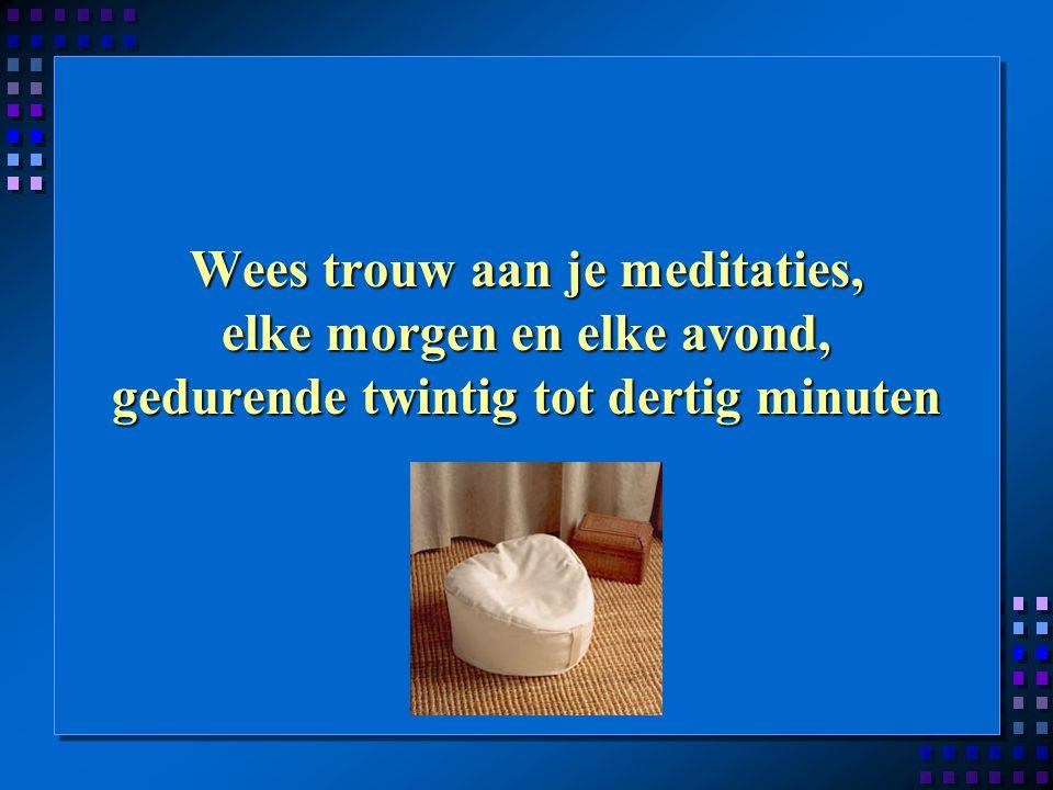Wees trouw aan je meditaties, elke morgen en elke avond, gedurende twintig tot dertig minuten