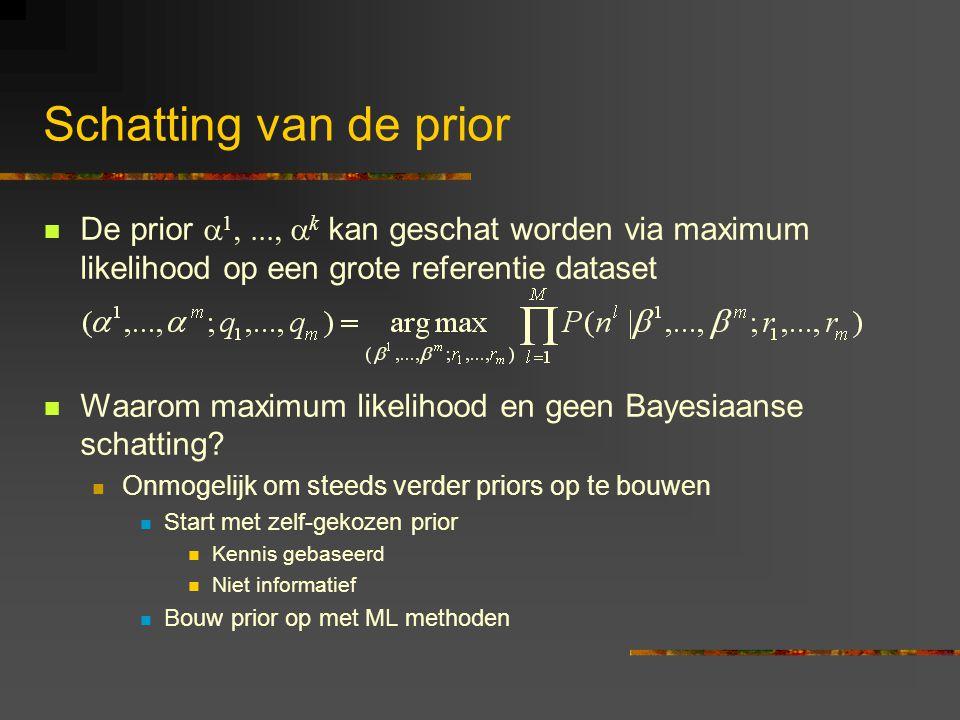 Schatting van de prior De prior  1,...,  k kan geschat worden via maximum likelihood op een grote referentie dataset Waarom maximum likelihood en geen Bayesiaanse schatting.