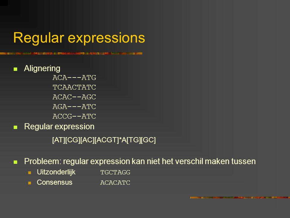 Regular expressions Alignering Regular expression Probleem: regular expression kan niet het verschil maken tussen Uitzonderlijk TGCTAGG Consensus ACACATC ACA---ATG TCAACTATC ACAC--AGC AGA---ATC ACCG--ATC [AT][CG][AC][ACGT]*A[TG][GC]