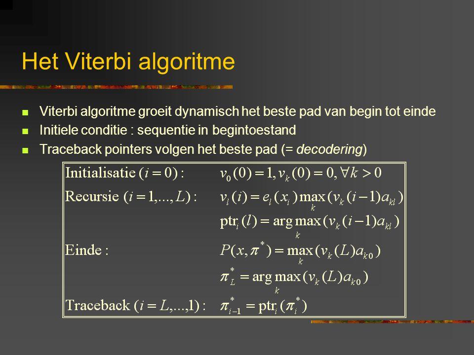 Het Viterbi algoritme Viterbi algoritme groeit dynamisch het beste pad van begin tot einde Initiele conditie : sequentie in begintoestand Traceback pointers volgen het beste pad (= decodering)