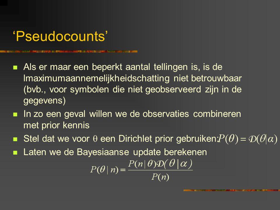 'Pseudocounts' Als er maar een beperkt aantal tellingen is, is de lmaximumaannemelijkheidschatting niet betrouwbaar (bvb., voor symbolen die niet geobserveerd zijn in de gegevens) In zo een geval willen we de observaties combineren met prior kennis Stel dat we voor  een Dirichlet prior gebruiken: Laten we de Bayesiaanse update berekenen