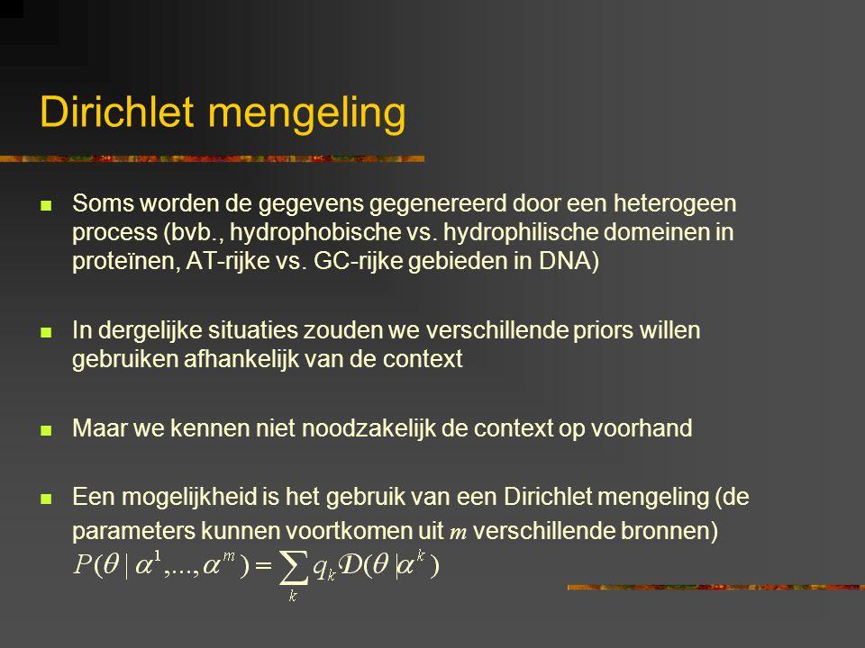 Dirichlet mengeling Soms worden de gegevens gegenereerd door een heterogeen process (bvb., hydrophobische vs.