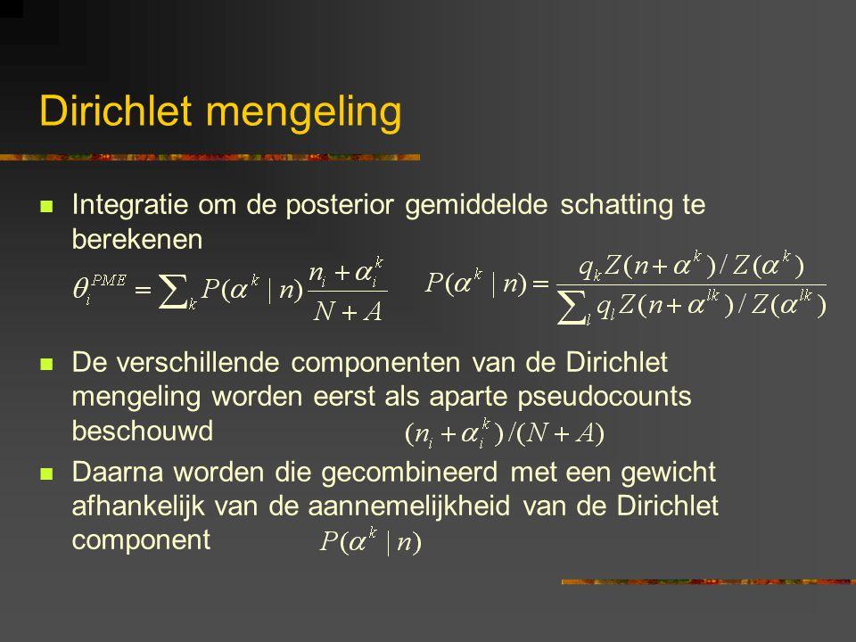 Dirichlet mengeling Integratie om de posterior gemiddelde schatting te berekenen De verschillende componenten van de Dirichlet mengeling worden eerst als aparte pseudocounts beschouwd Daarna worden die gecombineerd met een gewicht afhankelijk van de aannemelijkheid van de Dirichlet component