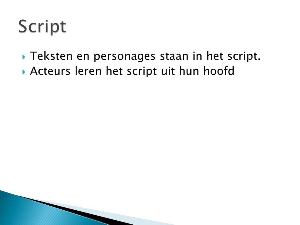  Teksten en personages staan in het script.  Acteurs leren het script uit hun hoofd