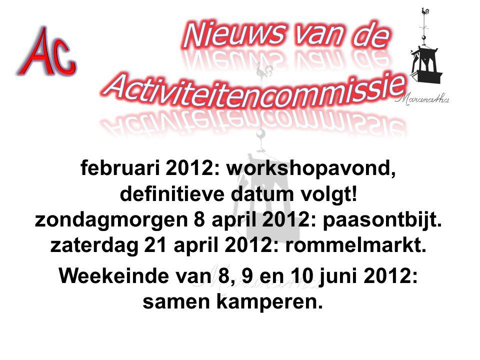 februari 2012: workshopavond, definitieve datum volgt.