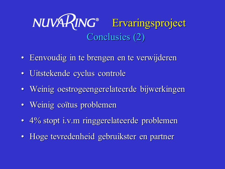 Ervaringsproject Conclusies (2) Ervaringsproject Conclusies (2) Eenvoudig in te brengen en te verwijderenEenvoudig in te brengen en te verwijderen Uit