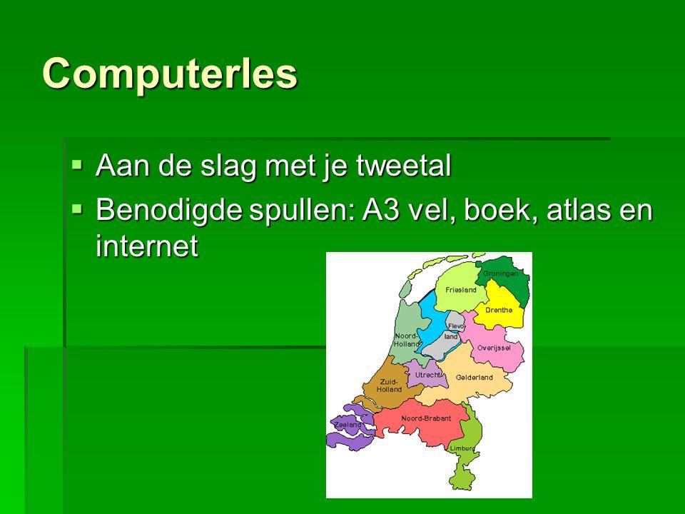 De opdracht  Teken in het midden van het vel Nederland  Geef alle provincies aan  Zoek verschillende plaatjes op internet over Nederland  Print het uit (voor de volgende les) of teken het na  Geef op de kaart van Nederland (dat je zelf hebt getekend) aan waar het plaatje (landschap) voorkomt.