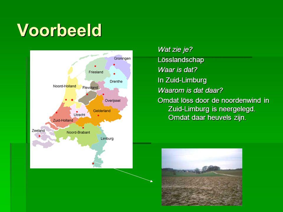 Voorbeeld Wat zie je. Lösslandschap Waar is dat. In Zuid-Limburg Waarom is dat daar.