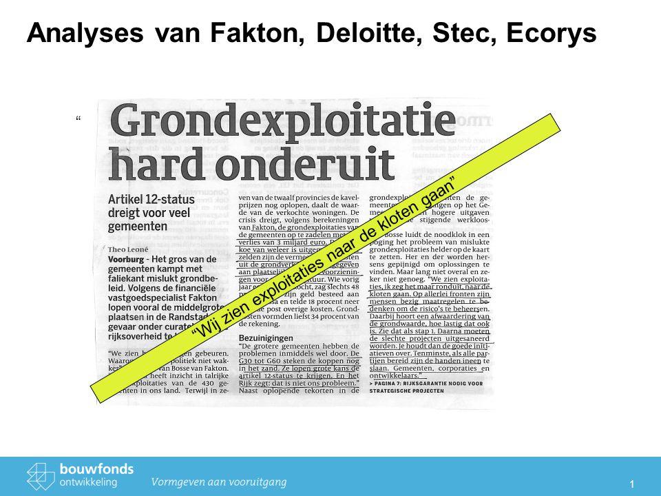 1 Analyses van Fakton, Deloitte, Stec, Ecorys Wij zien exploitaties naar de kloten gaan