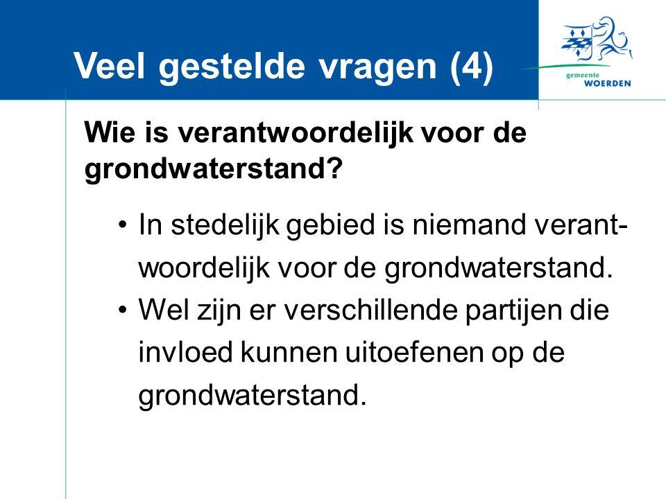 Veel gestelde vragen (4) Wie is verantwoordelijk voor de grondwaterstand.