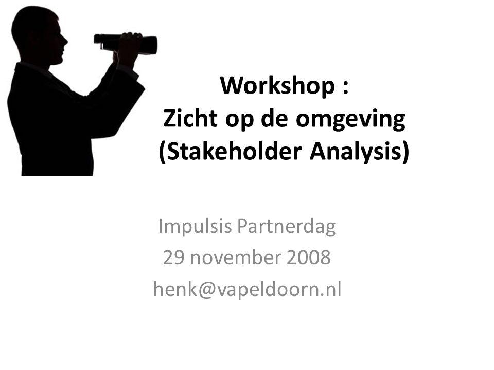 Workshop : Zicht op de omgeving (Stakeholder Analysis) Impulsis Partnerdag 29 november 2008 henk@vapeldoorn.nl