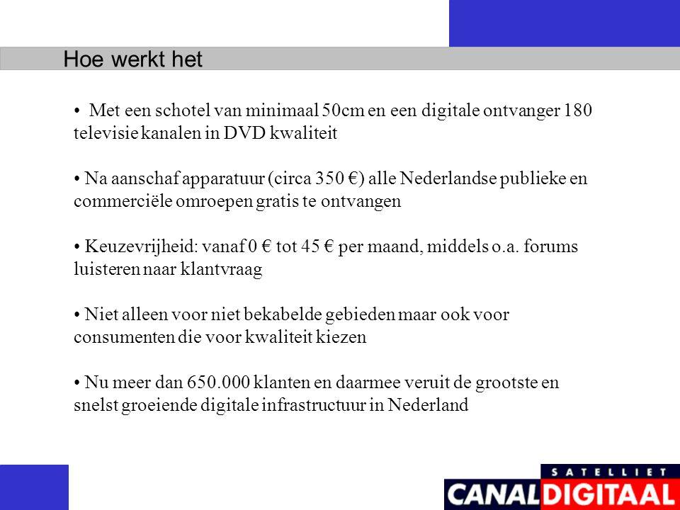 Met een schotel van minimaal 50cm en een digitale ontvanger 180 televisie kanalen in DVD kwaliteit Na aanschaf apparatuur (circa 350 €) alle Nederlandse publieke en commerciële omroepen gratis te ontvangen Keuzevrijheid: vanaf 0 € tot 45 € per maand, middels o.a.