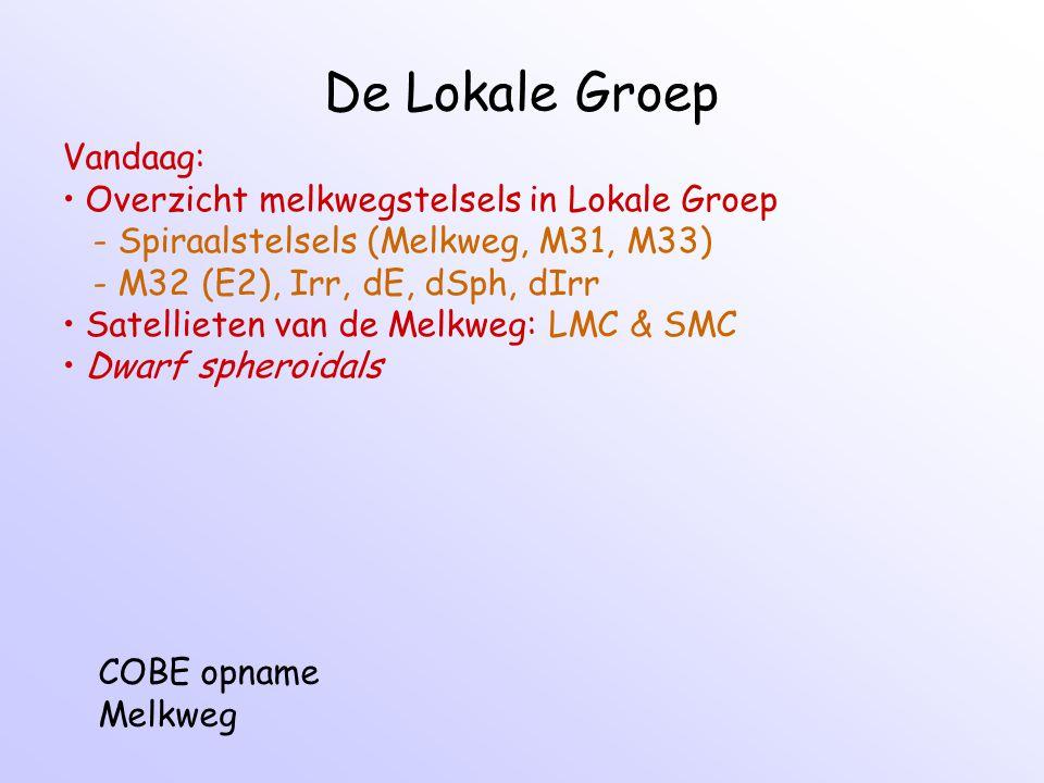De Lokale Groep Vandaag: Overzicht melkwegstelsels in Lokale Groep - Spiraalstelsels (Melkweg, M31, M33) - M32 (E2), Irr, dE, dSph, dIrr Satellieten van de Melkweg: LMC & SMC Dwarf spheroidals COBE opname Melkweg