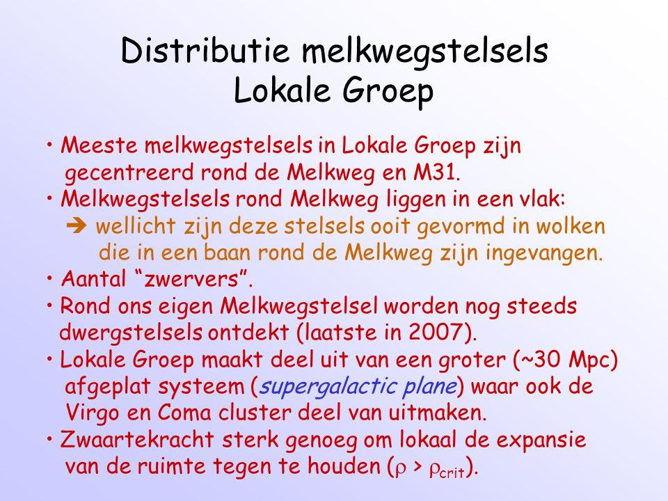 Distributie melkwegstelsels Lokale Groep Meeste melkwegstelsels in Lokale Groep zijn gecentreerd rond de Melkweg en M31.