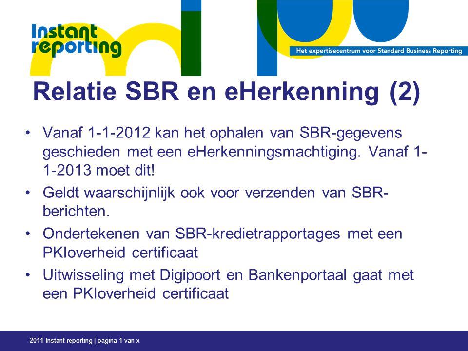 Relatie SBR en eHerkenning (2) Vanaf 1-1-2012 kan het ophalen van SBR-gegevens geschieden met een eHerkenningsmachtiging.