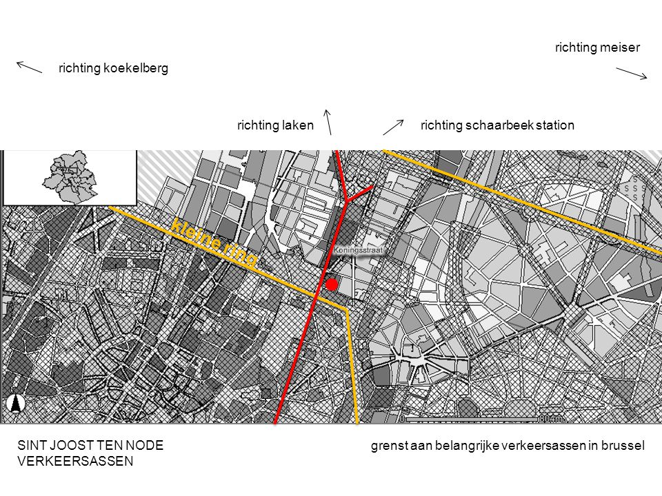 grenst aan belangrijke verkeersassen in brusselSINT JOOST TEN NODE VERKEERSASSEN richting koekelberg richting schaarbeek station richting meiser richting laken kleine ring