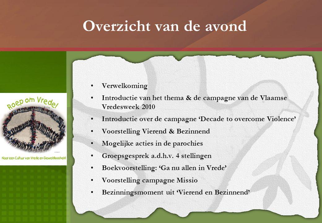 Overzicht van de avond Verwelkoming Introductie van het thema & de campagne van de Vlaamse Vredesweek 2010 Introductie over de campagne 'Decade to ove