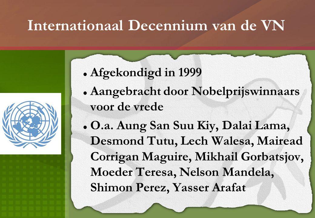 Internationaal Decennium van de VN Afgekondigd in 1999 Aangebracht door Nobelprijswinnaars voor de vrede O.a. Aung San Suu Kiy, Dalai Lama, Desmond Tu