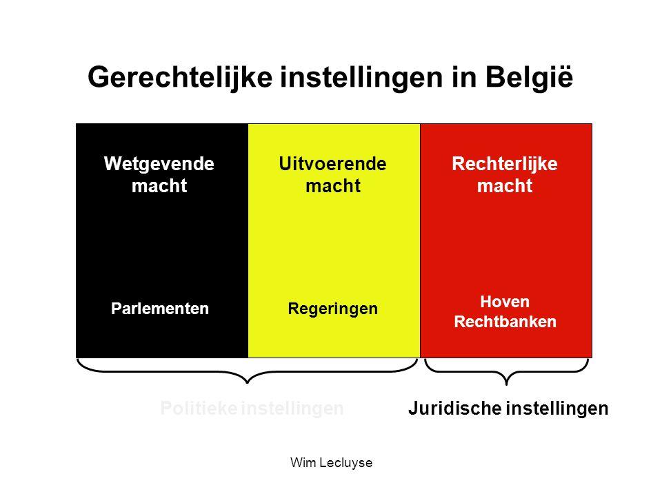 Gerechtelijke instellingen in België Wetgevende macht Uitvoerende macht Rechterlijke macht Politieke instellingen Juridische instellingen ParlementenRegeringen Hoven Rechtbanken Wim Lecluyse
