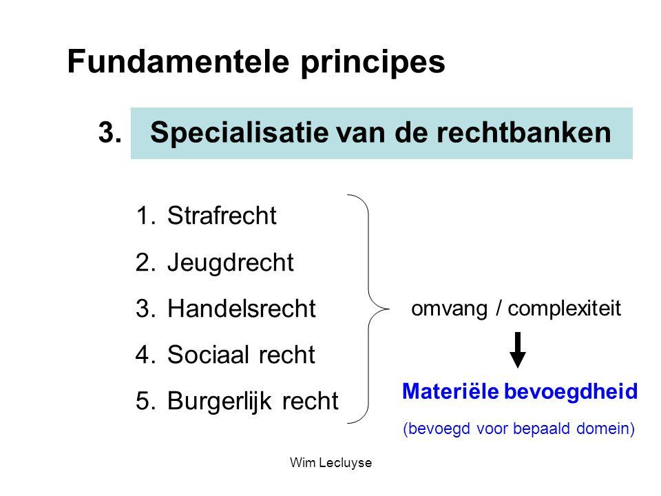 Fundamentele principes Specialisatie van de rechtbanken3. 1. Strafrecht 2. Jeugdrecht 3. Handelsrecht 4. Sociaal recht 5. Burgerlijk recht omvang / co