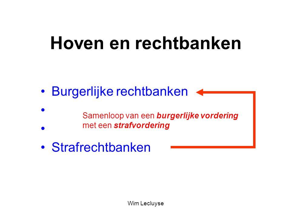 Burgerlijke rechtbanken Handelsrechtbanken Arbeidsrechtbanken Strafrechtbanken Samenloop van een burgerlijke vordering met een strafvordering Hoven en rechtbanken Wim Lecluyse