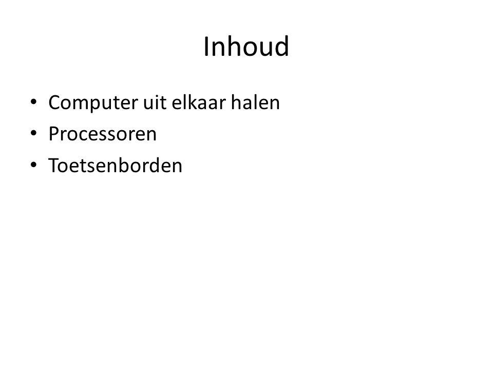 Inhoud Computer uit elkaar halen Processoren Toetsenborden