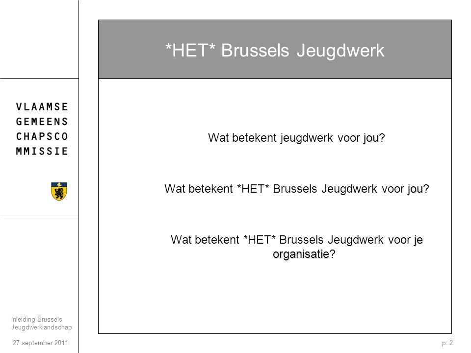 27 september 2011 Inleiding Brussels Jeugdwerklandschap p.