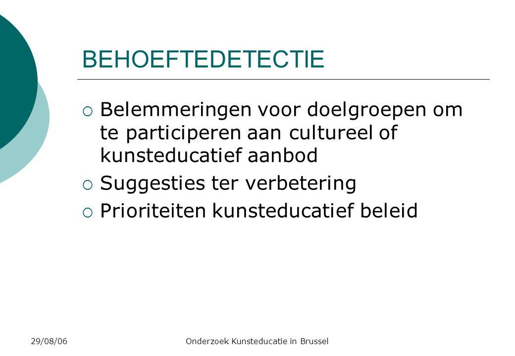 29/08/06Onderzoek Kunsteducatie in Brussel BEHOEFTEDETECTIE  Belemmeringen voor doelgroepen om te participeren aan cultureel of kunsteducatief aanbod  Suggesties ter verbetering  Prioriteiten kunsteducatief beleid