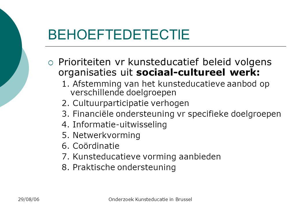 29/08/06Onderzoek Kunsteducatie in Brussel BEHOEFTEDETECTIE  Prioriteiten vr kunsteducatief beleid volgens organisaties uit sociaal-cultureel werk: 1.