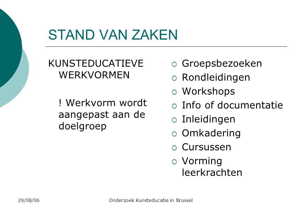 29/08/06Onderzoek Kunsteducatie in Brussel STAND VAN ZAKEN KUNSTEDUCATIEVE WERKVORMEN .