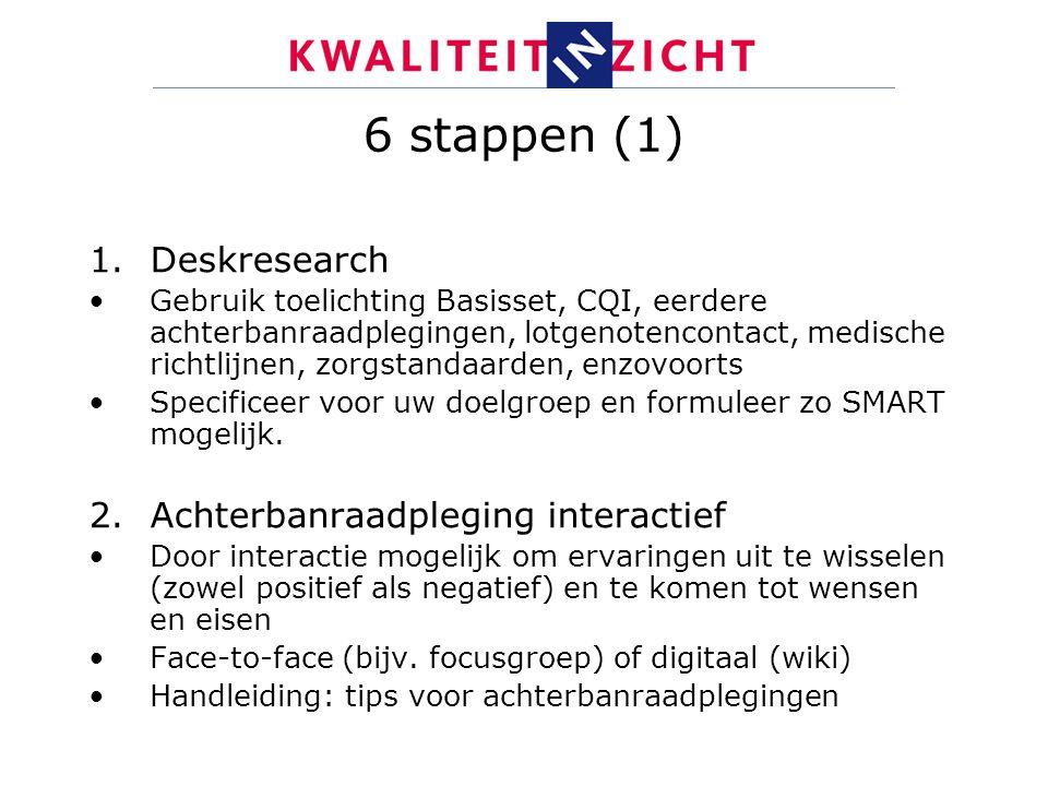 6 stappen (1) 1.Deskresearch Gebruik toelichting Basisset, CQI, eerdere achterbanraadplegingen, lotgenotencontact, medische richtlijnen, zorgstandaard