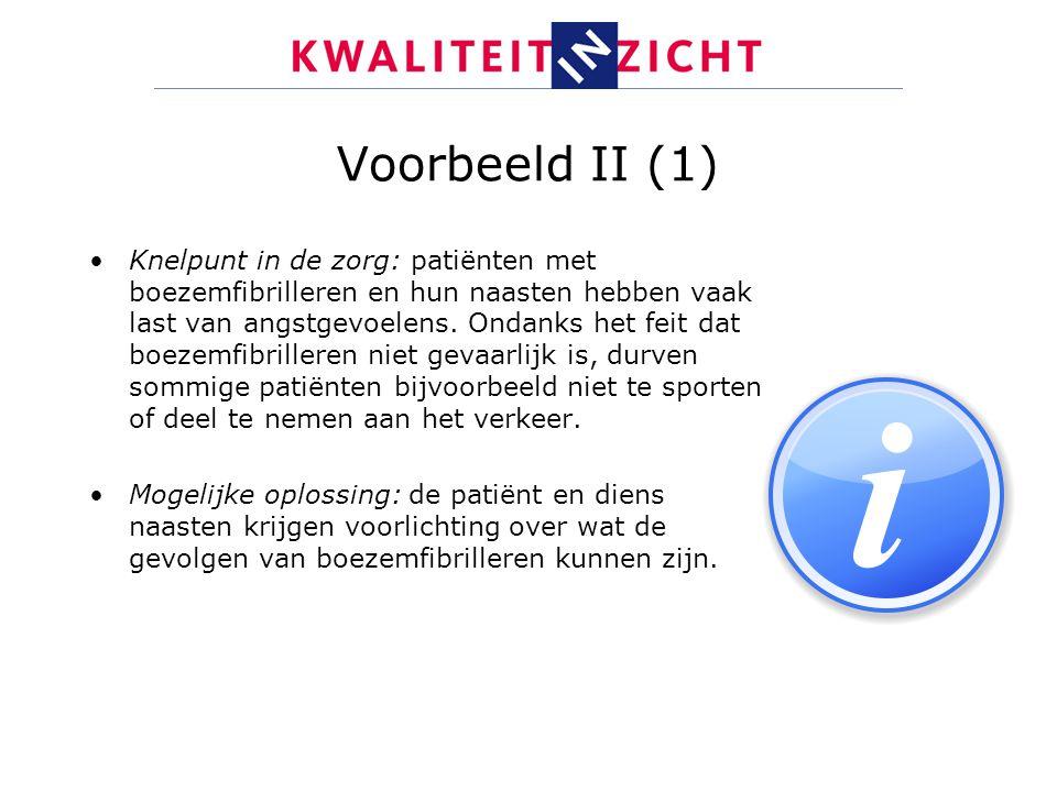 Voorbeeld II (1) Knelpunt in de zorg: patiënten met boezemfibrilleren en hun naasten hebben vaak last van angstgevoelens. Ondanks het feit dat boezemf