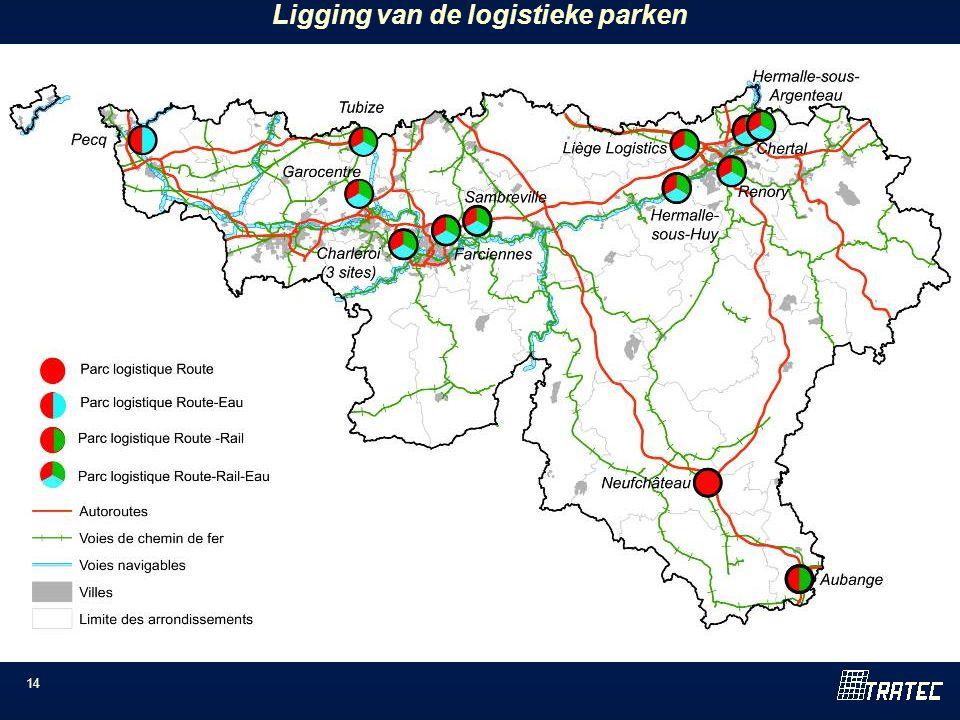 14 Ligging van de logistieke parken
