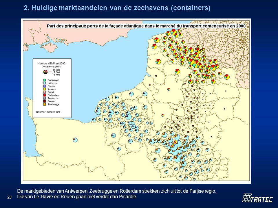 23 2. Huidige marktaandelen van de zeehavens (containers) De marktgebieden van Antwerpen, Zeebrugge en Rotterdam strekken zich uit tot de Parijse regi