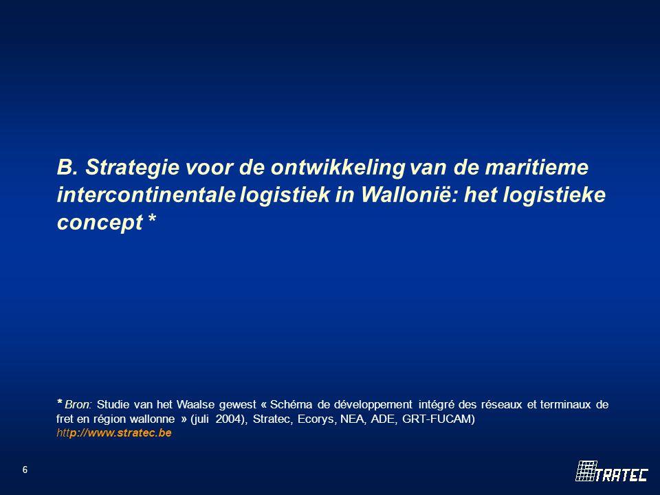 6 B. Strategie voor de ontwikkeling van de maritieme intercontinentale logistiek in Wallonië: het logistieke concept * * Bron: Studie van het Waalse g