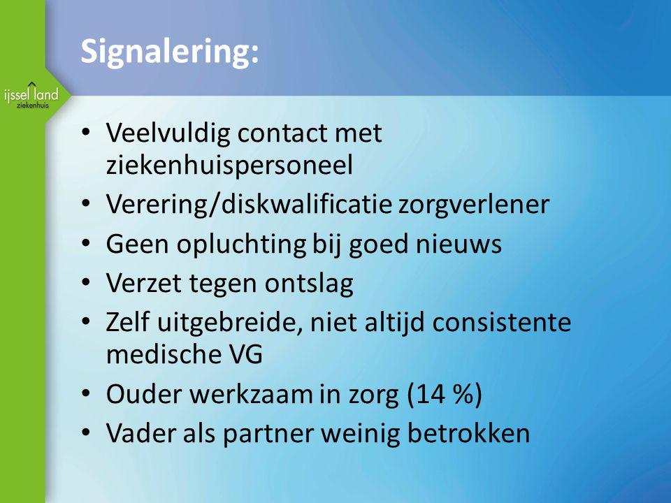Signalering: Veelvuldig contact met ziekenhuispersoneel Verering/diskwalificatie zorgverlener Geen opluchting bij goed nieuws Verzet tegen ontslag Zel