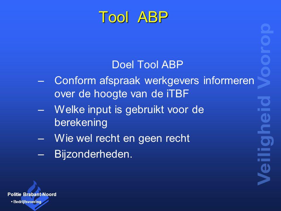 Politie Brabant-Noord Bedrijfsvoering Tool ABP Tool ABP Doel Tool ABP –Conform afspraak werkgevers informeren over de hoogte van de iTBF –Welke input
