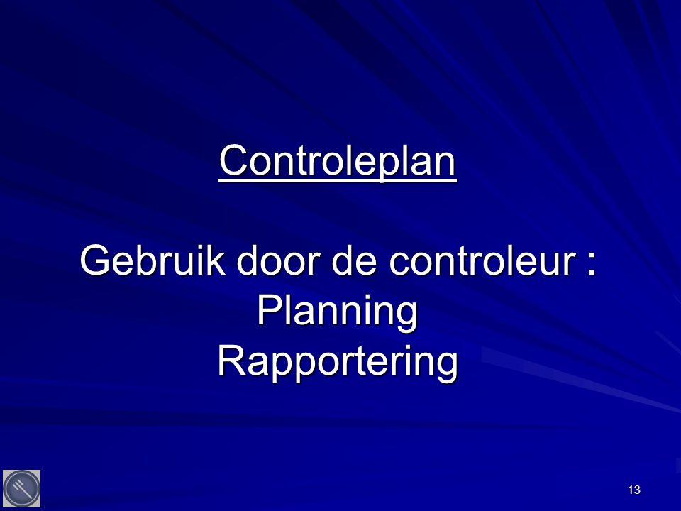 13 Controleplan Gebruik door de controleur : Planning Rapportering