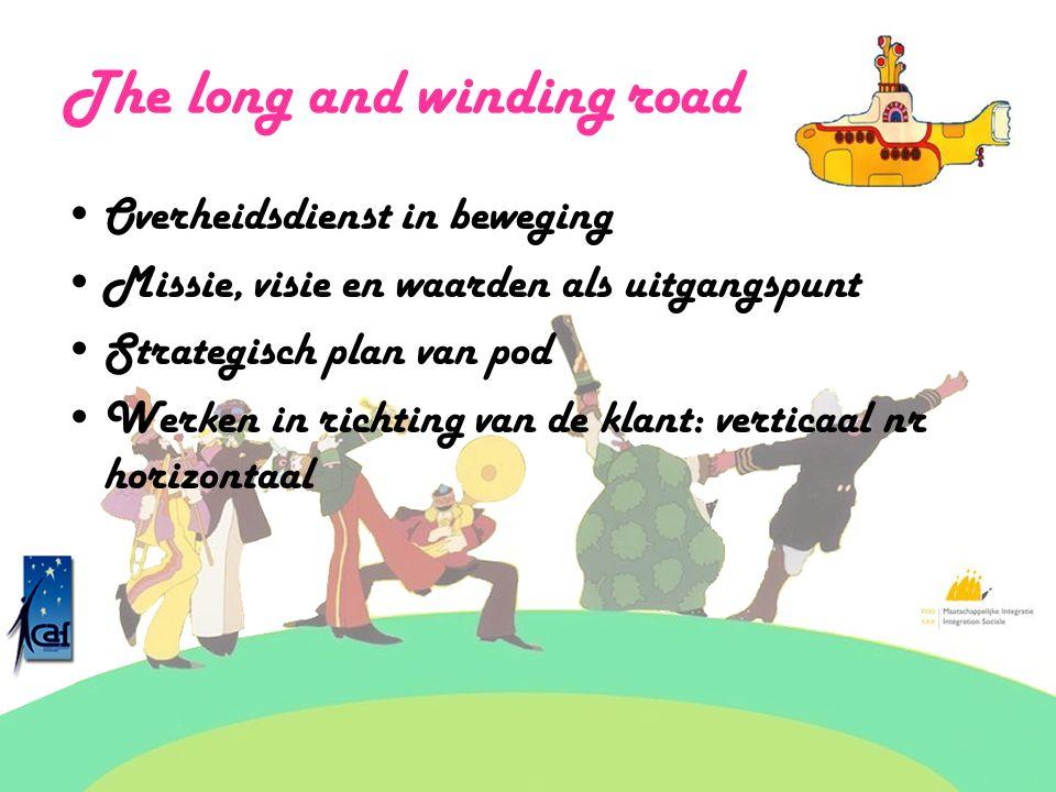 The long and winding road Overheidsdienst in beweging Missie, visie en waarden als uitgangspunt Strategisch plan van pod Werken in richting van de kla