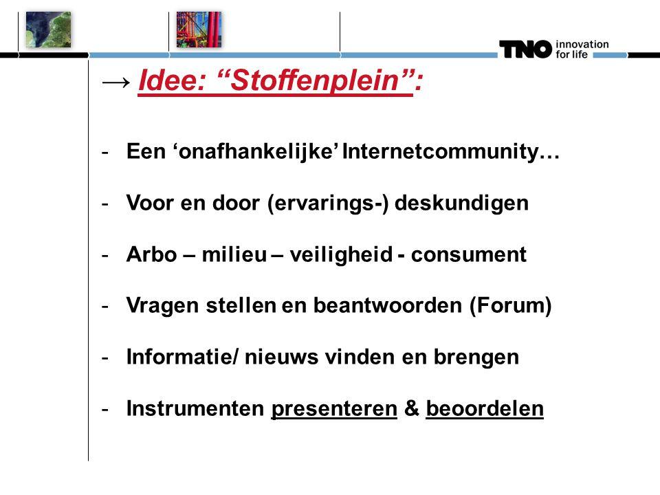 → Idee: Stoffenplein : -Een 'onafhankelijke' Internetcommunity… -Voor en door (ervarings-) deskundigen -Arbo – milieu – veiligheid - consument -Vragen stellen en beantwoorden (Forum) -Informatie/ nieuws vinden en brengen -Instrumenten presenteren & beoordelen